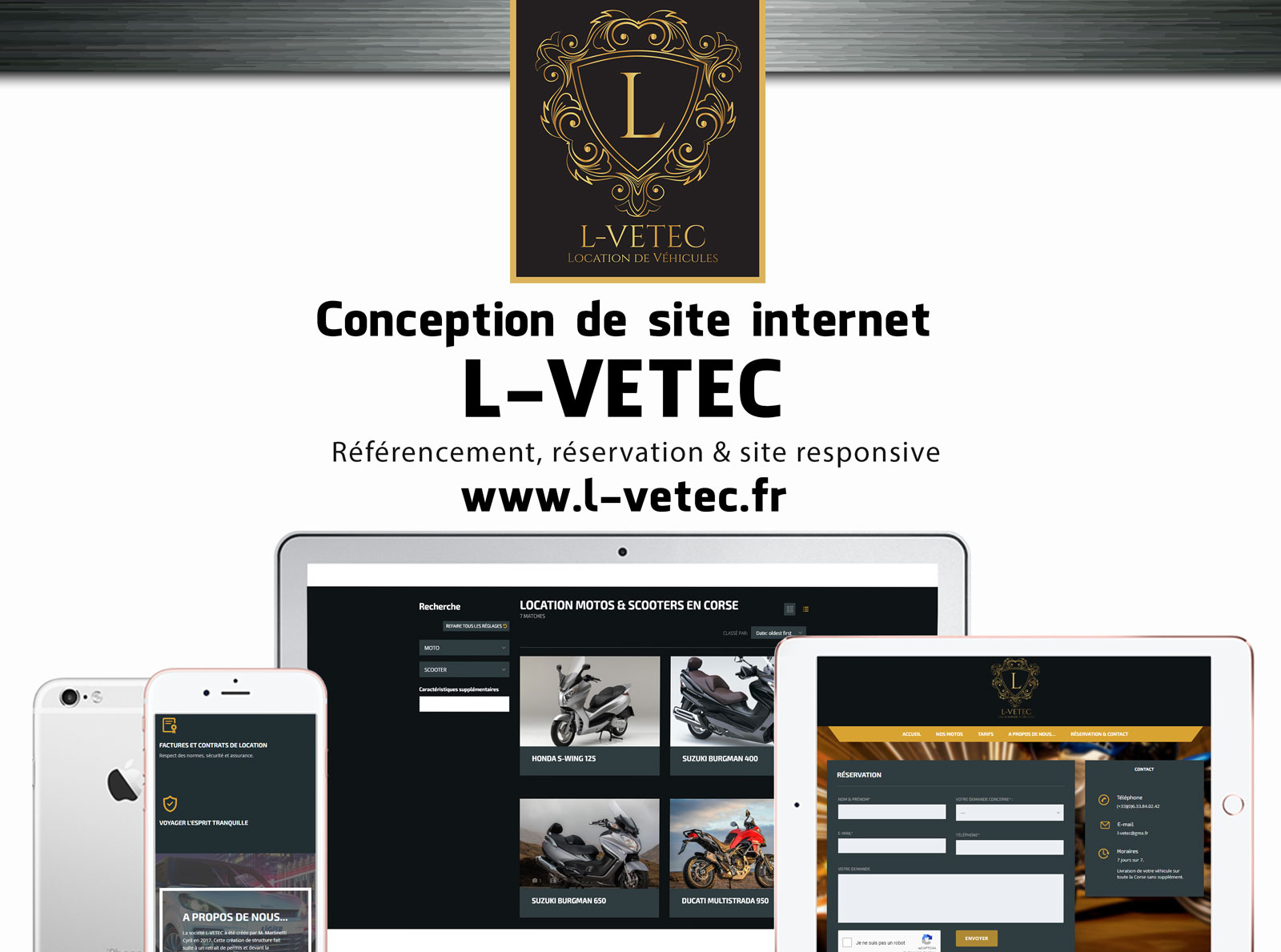 Creation site web u L-Vetec corse mockup