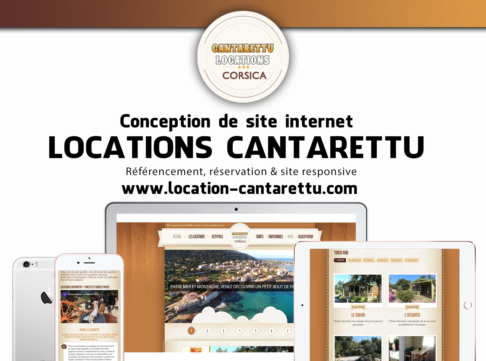Creation site web Locations Cantarettu corse mockup