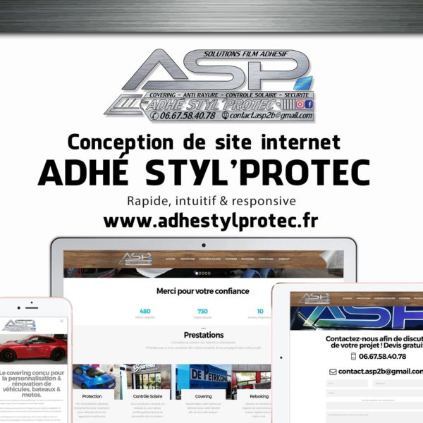 Creation site web Adhé Styl Protec corse mockup